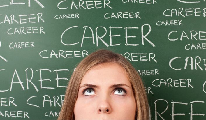 Woman Standing in Front of a Chalkboard With the Words Career on it