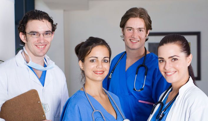Medical Assistant Students Wearing Professional Uniforms